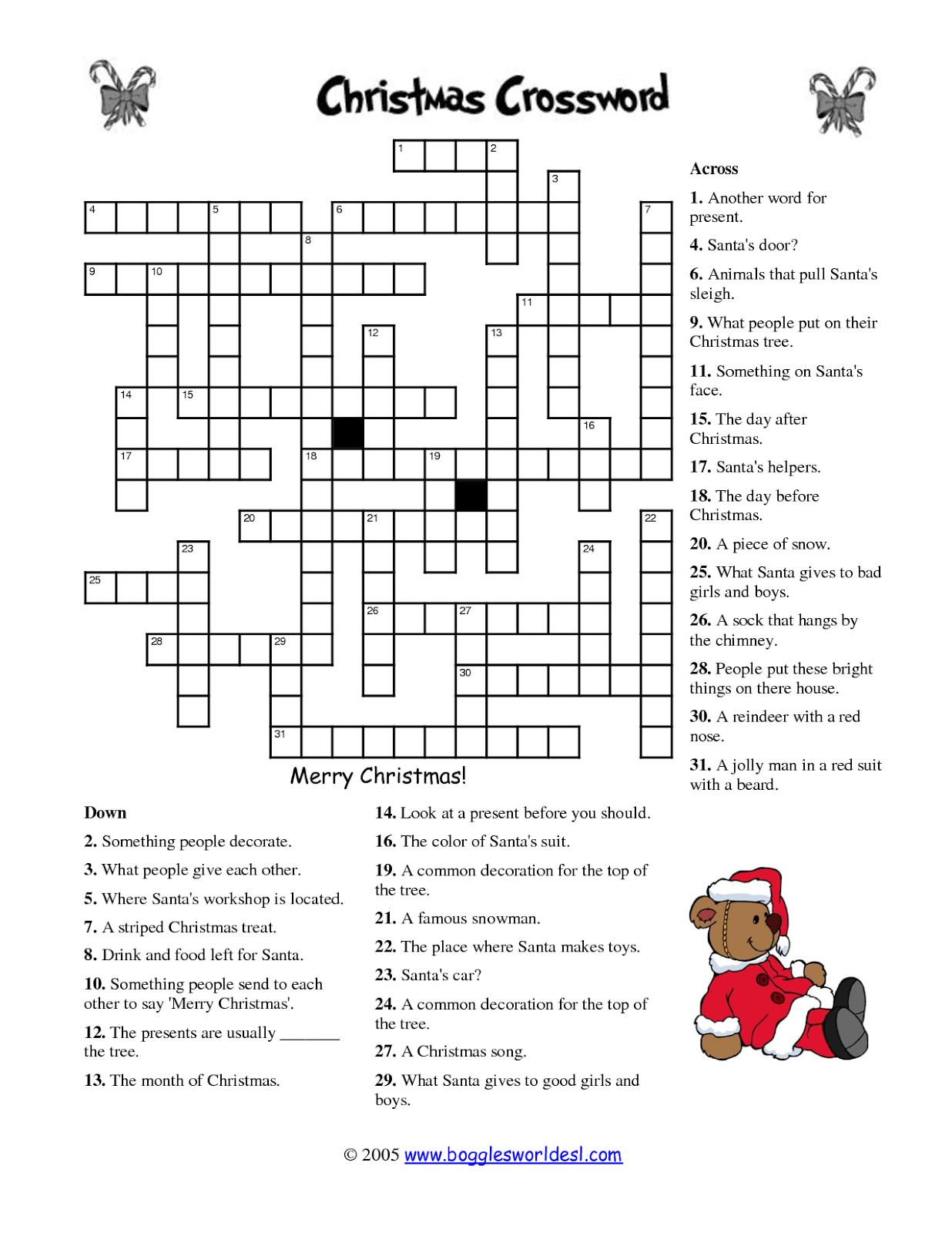 Free Printable Cards: Free Printable Crossword Puzzles | Christmas - Printable Crossword Puzzles About Cars