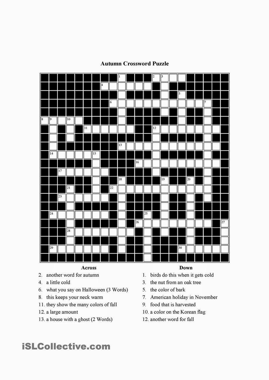 Free Printable Cards: Free Printable Crossword Puzzles | Free - Printable November Crossword Puzzles