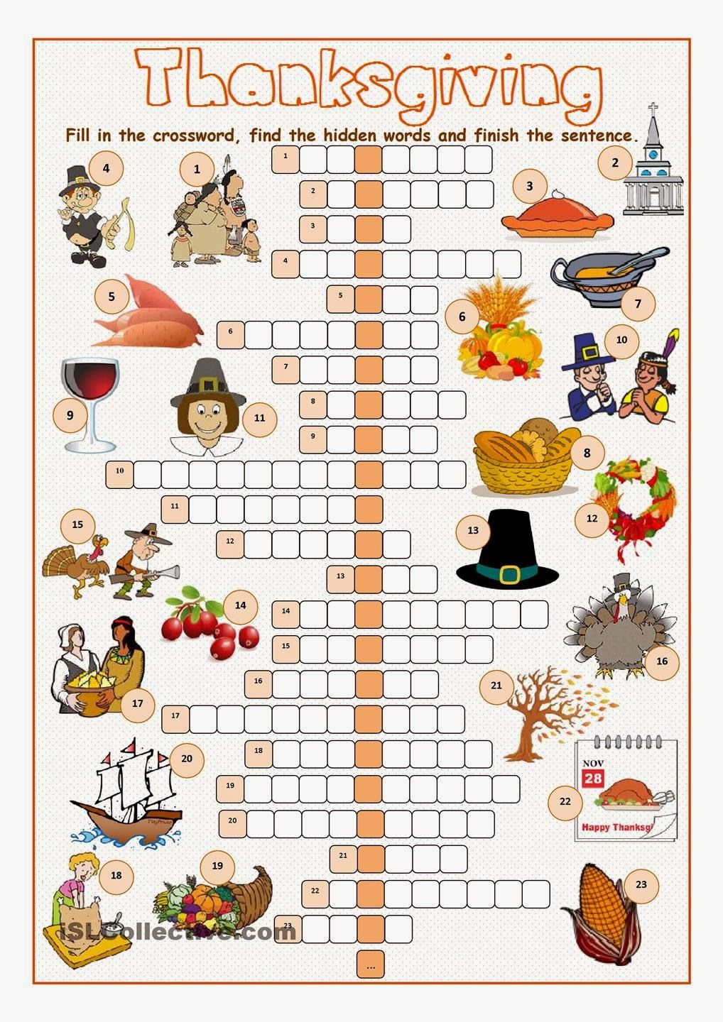 Free Printable Cards: Free Printable Crossword Puzzles - Thanksgiving Crossword Puzzles Printable Free