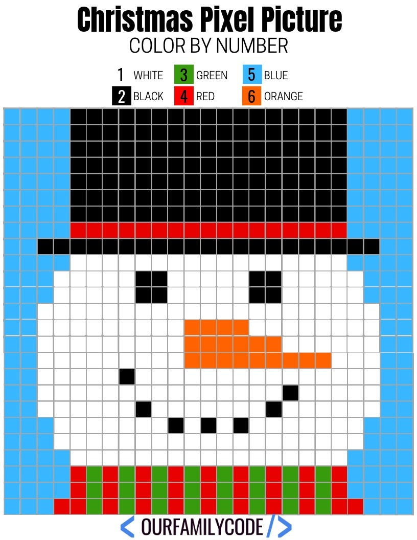 Free Printable Christmas Pixel Puzzles Activity For Kids - Printable Pixel Puzzles