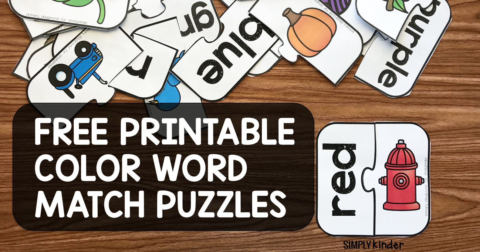 Free Printable Color Word Match Puzzles - Simply Kinder - Printable Office Puzzles