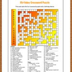 Free Printable Crossword Puzzle For Kids. The Theme Of This Puzzle   Birthday Crossword Puzzle Printable