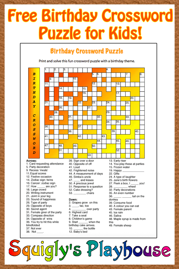 Free Printable Crossword Puzzle For Kids. The Theme Of This Puzzle - Printable Puzzles To Solve