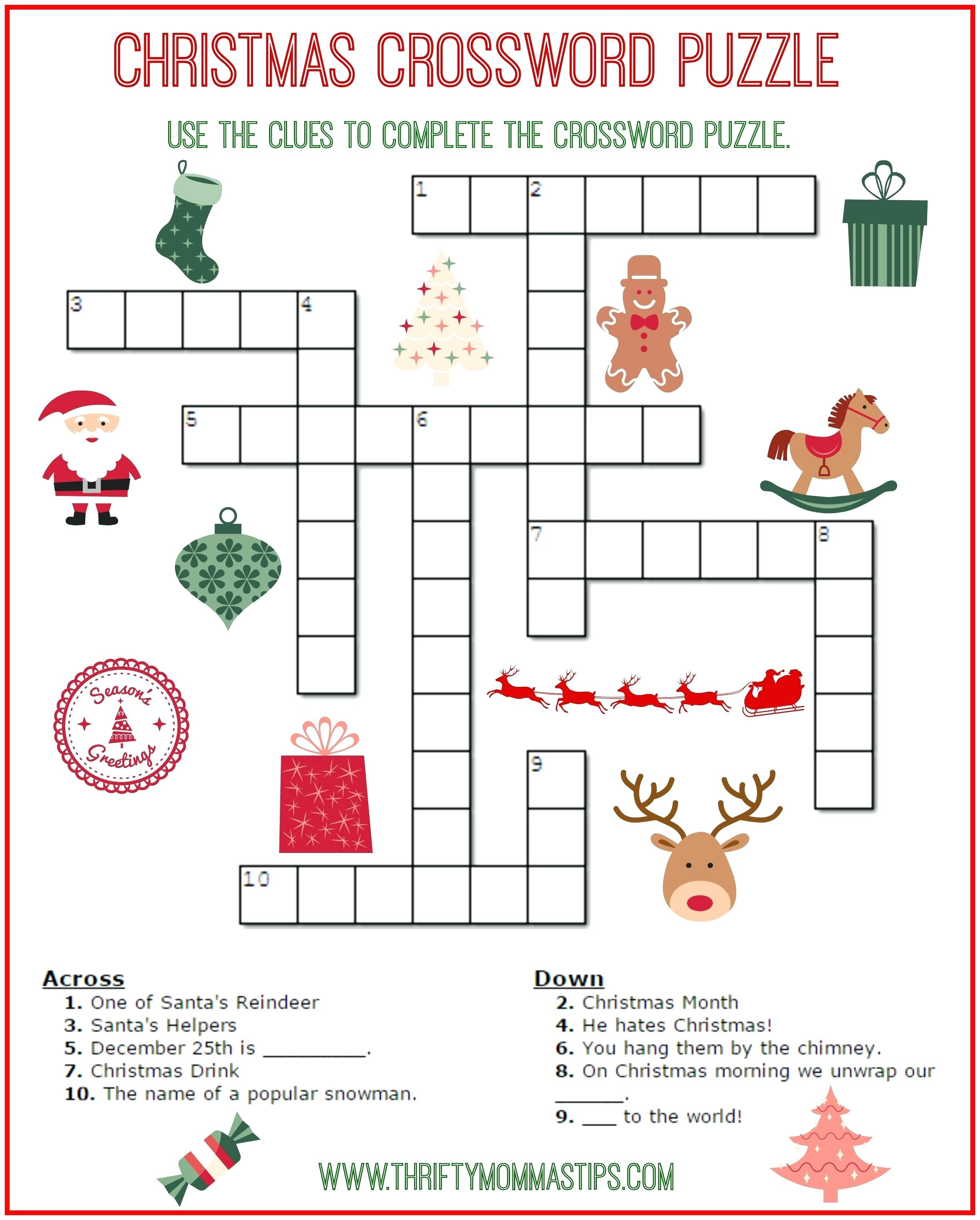 Free Printable Crossword Puzzles For Kids State Capitals Crossword - Printable Crossword Puzzle For Grade 6