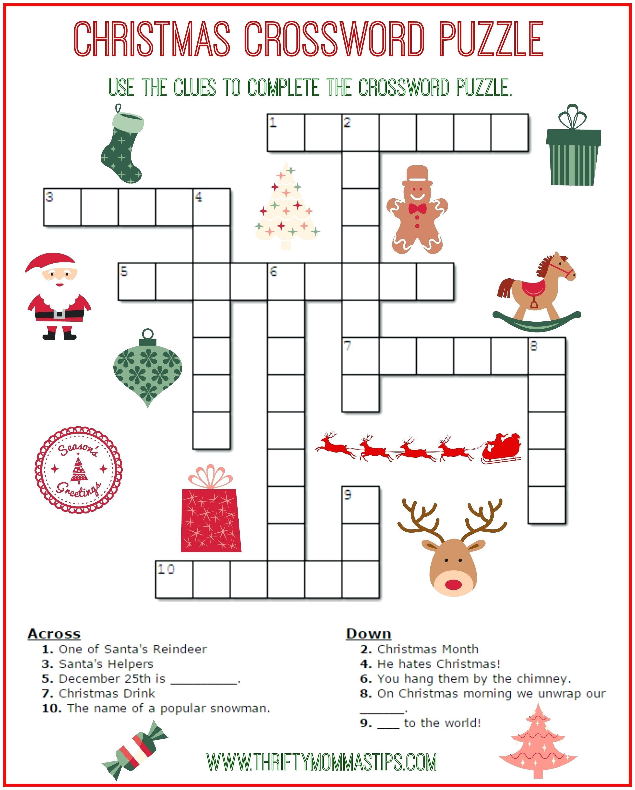 Free Printable Crossword Puzzles For Kids State Capitals Crossword - Printable Crossword Puzzles Elementary School