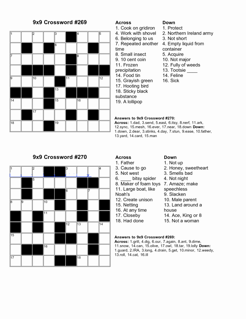Free Printable Crossword Puzzles For Kids - Yapis.sticken.co - Printable Crossword Puzzles For Young Adults