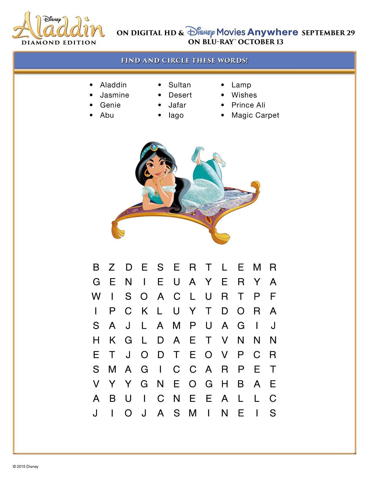Free Printable Disney Aladdin Activity Sheets | Jasmine/aladdin - Printable Puzzles For 13 Year Olds
