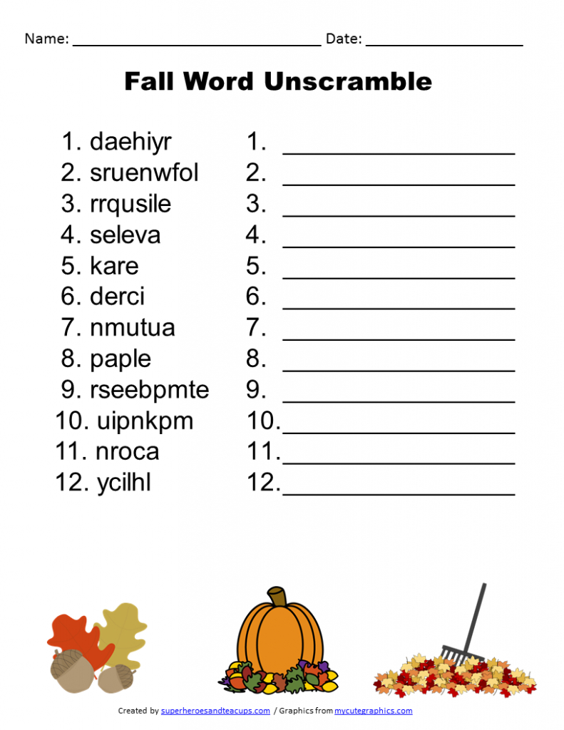 Free Printable - Fall Word Unscramble | Games For Senior Adults - Printable Buzzword Puzzles