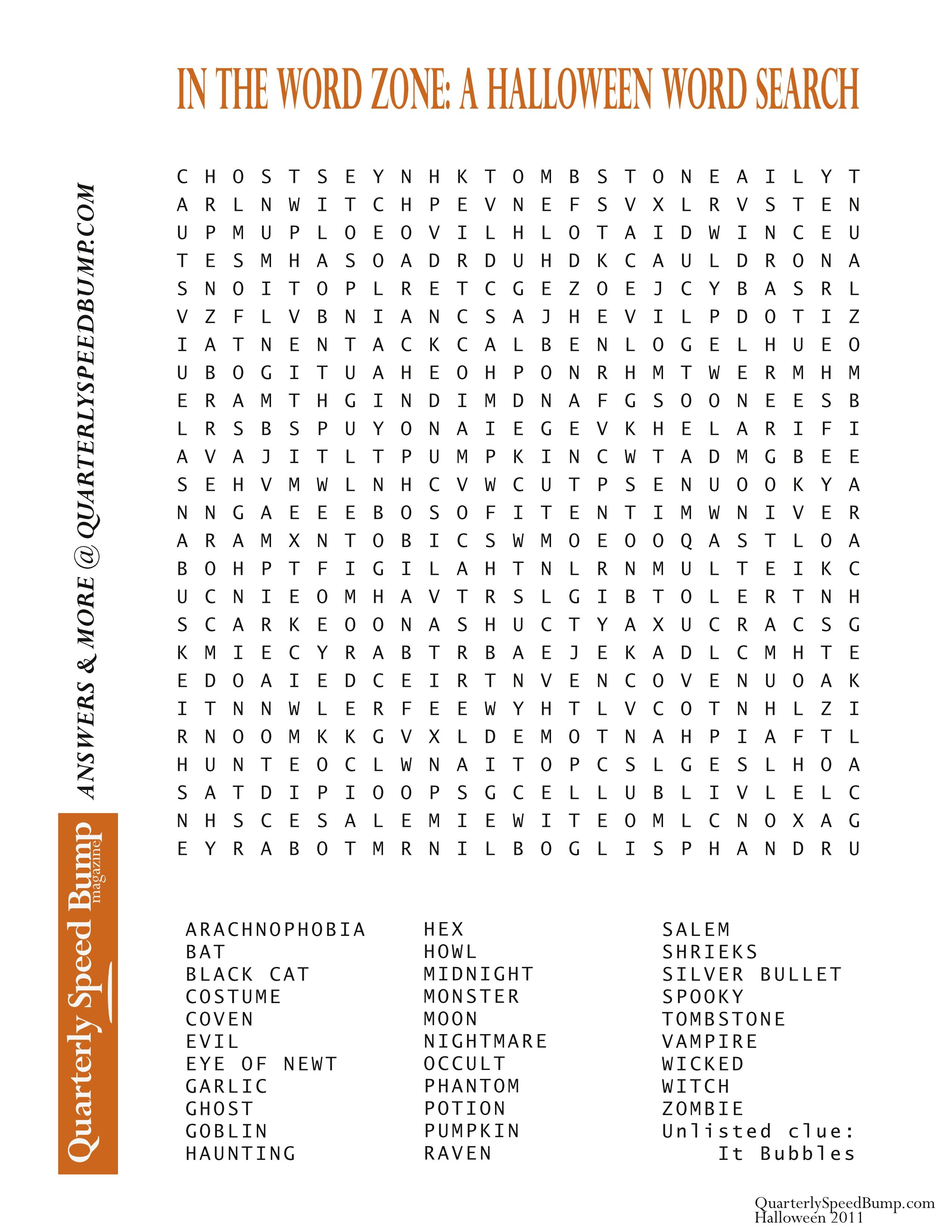 Free Printable Halloween Word Search Puzzles | Halloween Puzzle For - Printable Crossword Puzzles 2011