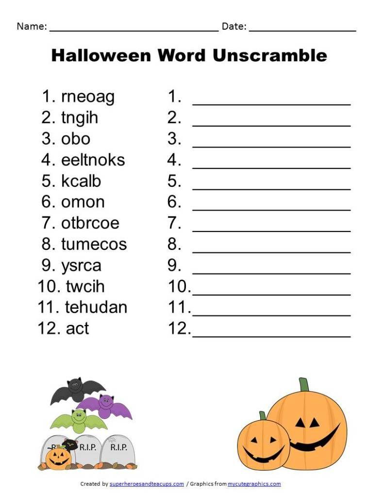 Free Printable - Halloween Word Unscramble | Activities For Boys - Free Printable Unscramble Puzzles