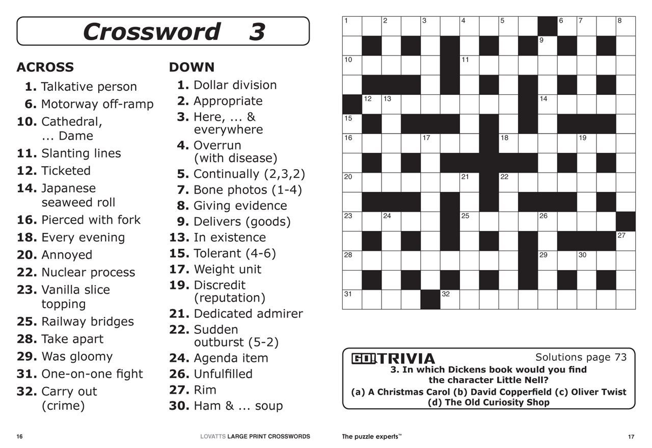 Free Printable Large Print Crossword Puzzles 0002253 Lovatts Large - Printable Crossword Puzzles Nz
