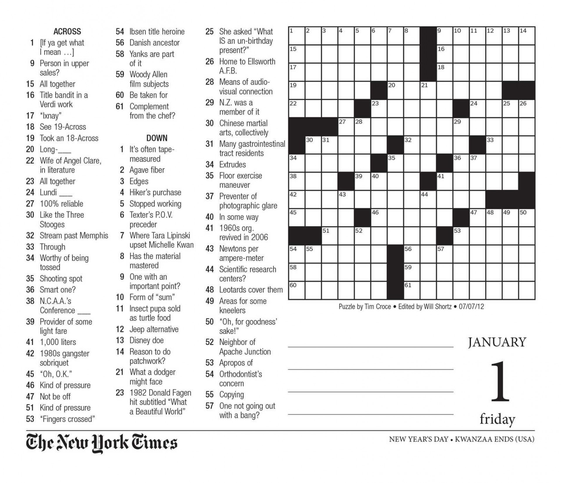 Free Printable Large Print Crossword Puzzles | M3U8 - Free Printable - Printable Crossword Puzzles 2012