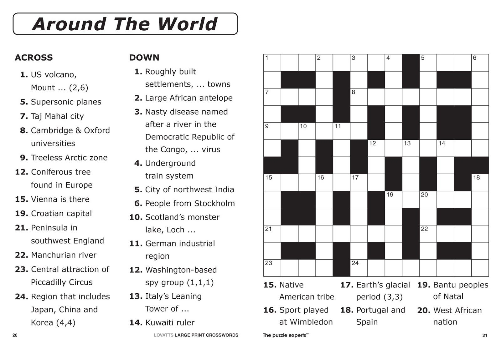 Free Printable Large Print Crossword Puzzles | M3U8 - Printable People Crossword Puzzles