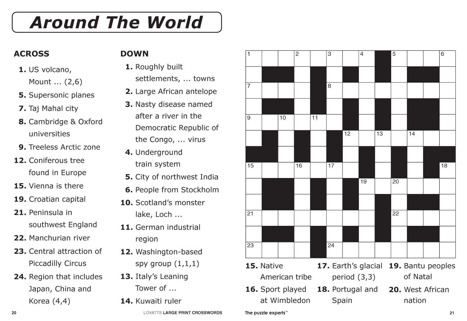 Free Printable Large Print Crossword Puzzles | M3U8 - Printable Sports Trivia Crossword Puzzles