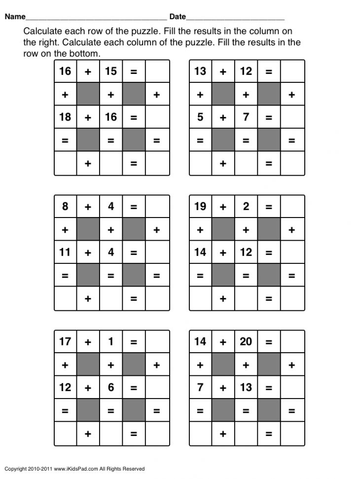 Printable Crossword Puzzles For 1St Graders