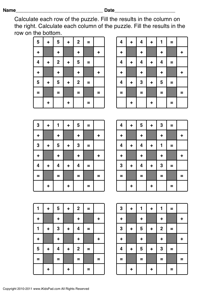 Free Printable Math Operations Puzzle For Kids | Clasa 0 | Printable - Printable Math Puzzle Games