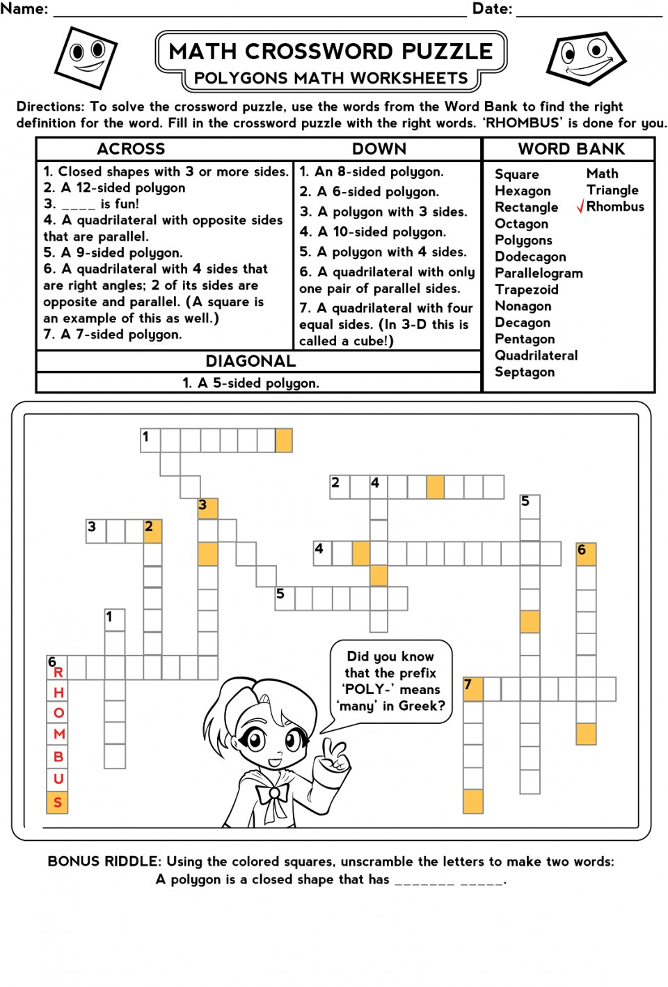 Free Printable Math Puzzles Number Crosswords Make Puzzle Worksheet - Printable Math Crossword Puzzles For High School