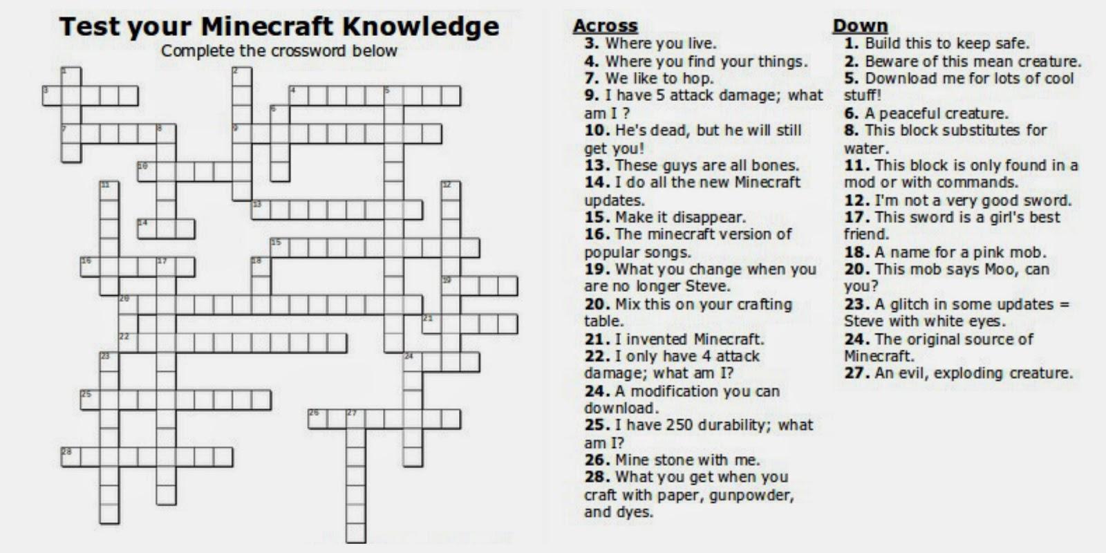 Free Printable Minecraft Crossword Search: Test Your Minecraft - Printable Quiz Crossword