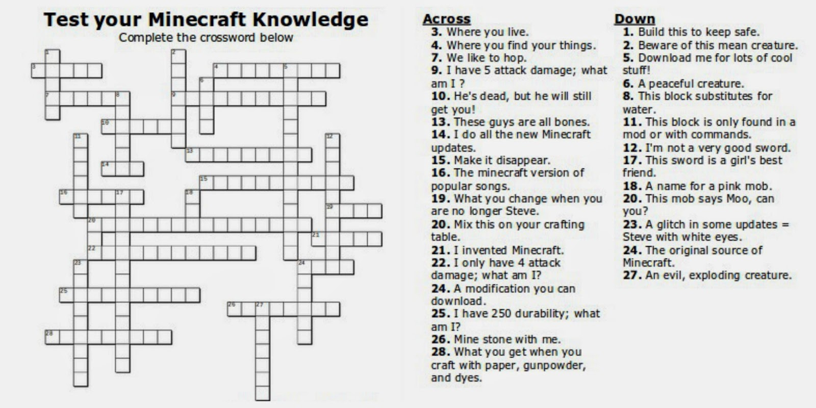 Free Printable Minecraft Crossword Search: Test Your Minecraft - Printable Youth Crossword Puzzles
