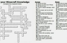 Free Printable Minecraft Crossword Search: Test Your Minecraft   Teenage Crossword Puzzles Printable Free