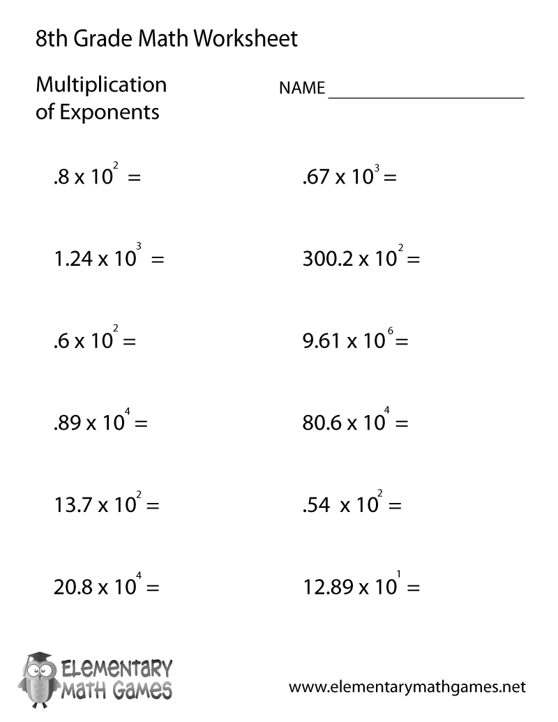 Free Printable Multiplication Of Exponents Worksheet For Eighth Grade - Printable Math Puzzles For 8Th Graders