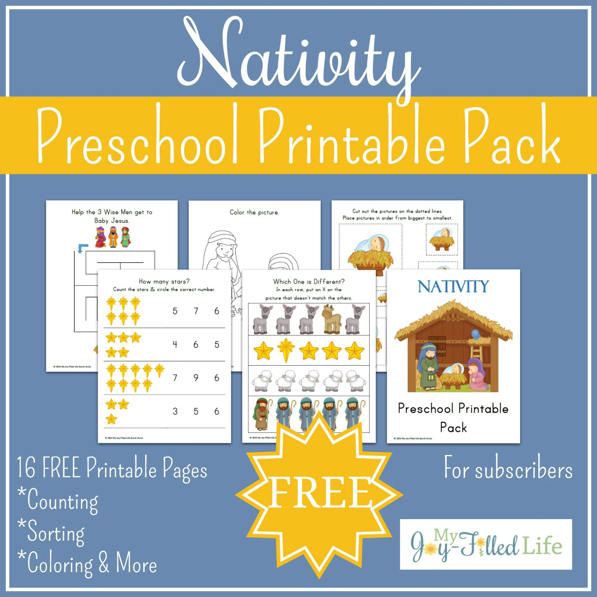 Free Printable Nativity Preschool Pack - My Joy-Filled Life - Printable Nativity Puzzle