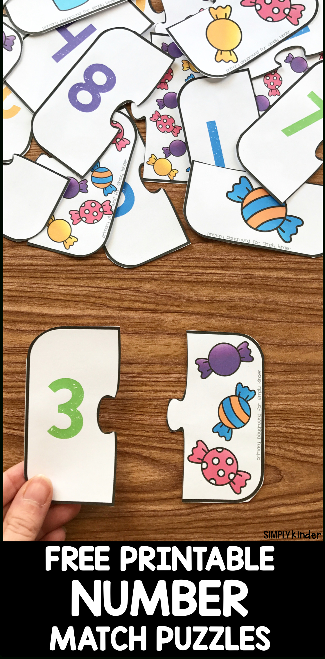 Free Printable Number Match Puzzles - Simply Kinder - Printable Puzzles For Preschoolers