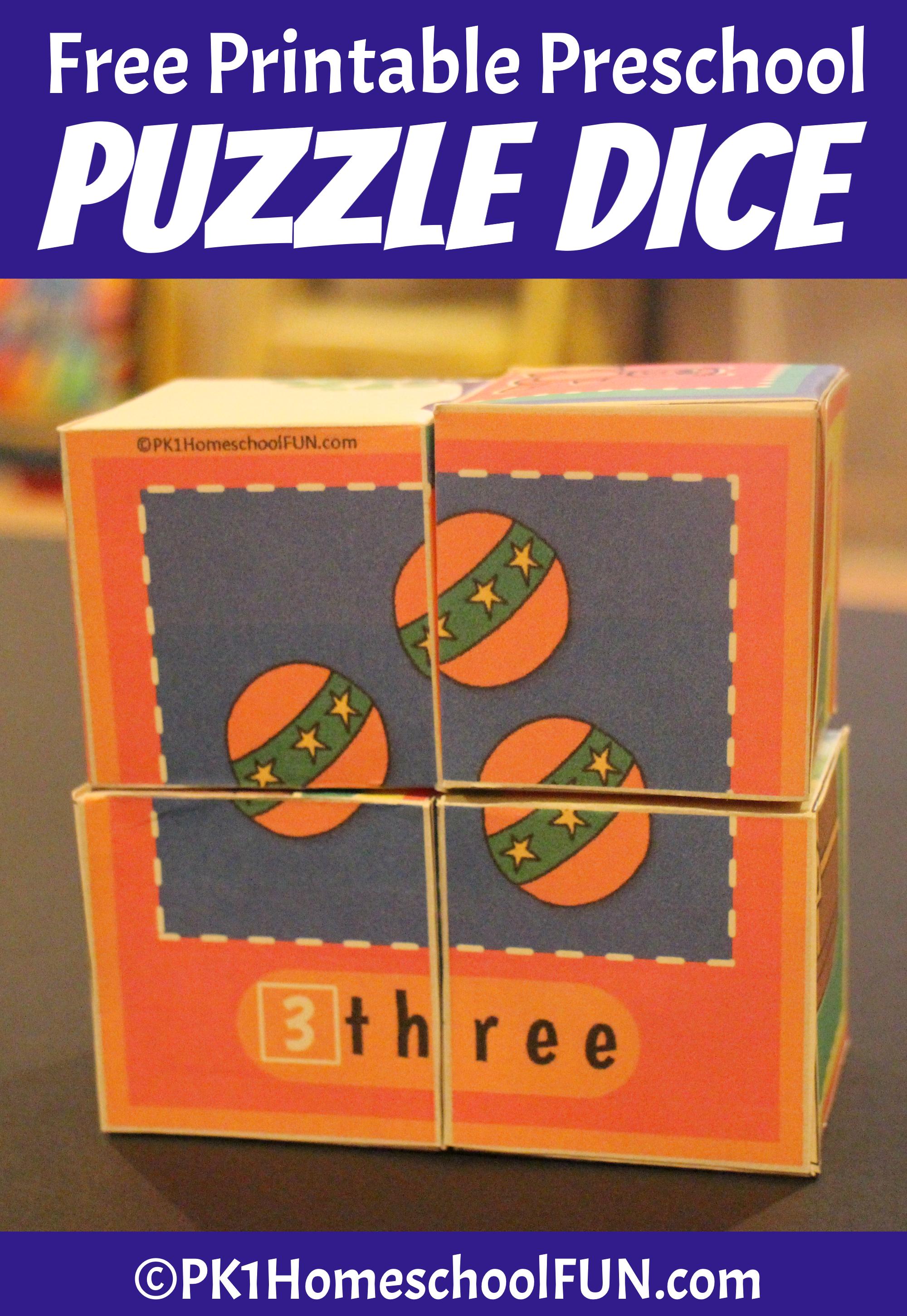 Free Printable Puzzle Dice For Preschoolers - Pk1Homeschoolfun - Printable Puzzles Preschool