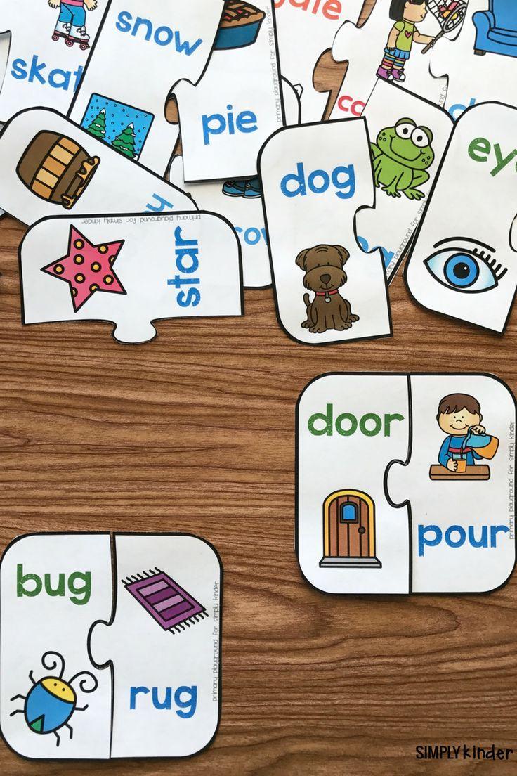 Free Printable Rhyming Puzzles | I ♥ Kindergarten | Rhyming - Printable Puzzles Preschool