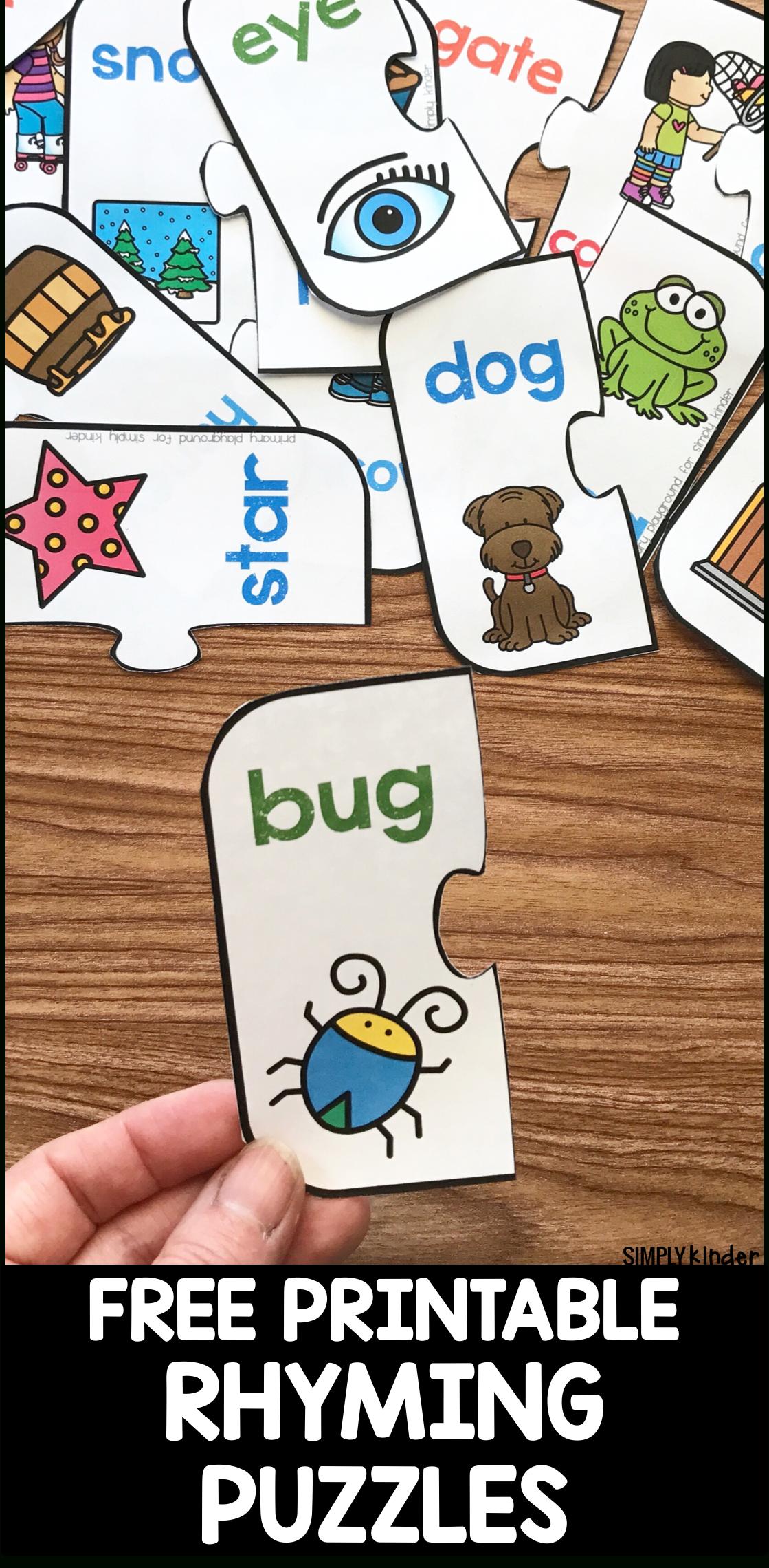 Free Printable Rhyming Puzzles - Simply Kinder - Printable Puzzles Kindergarten