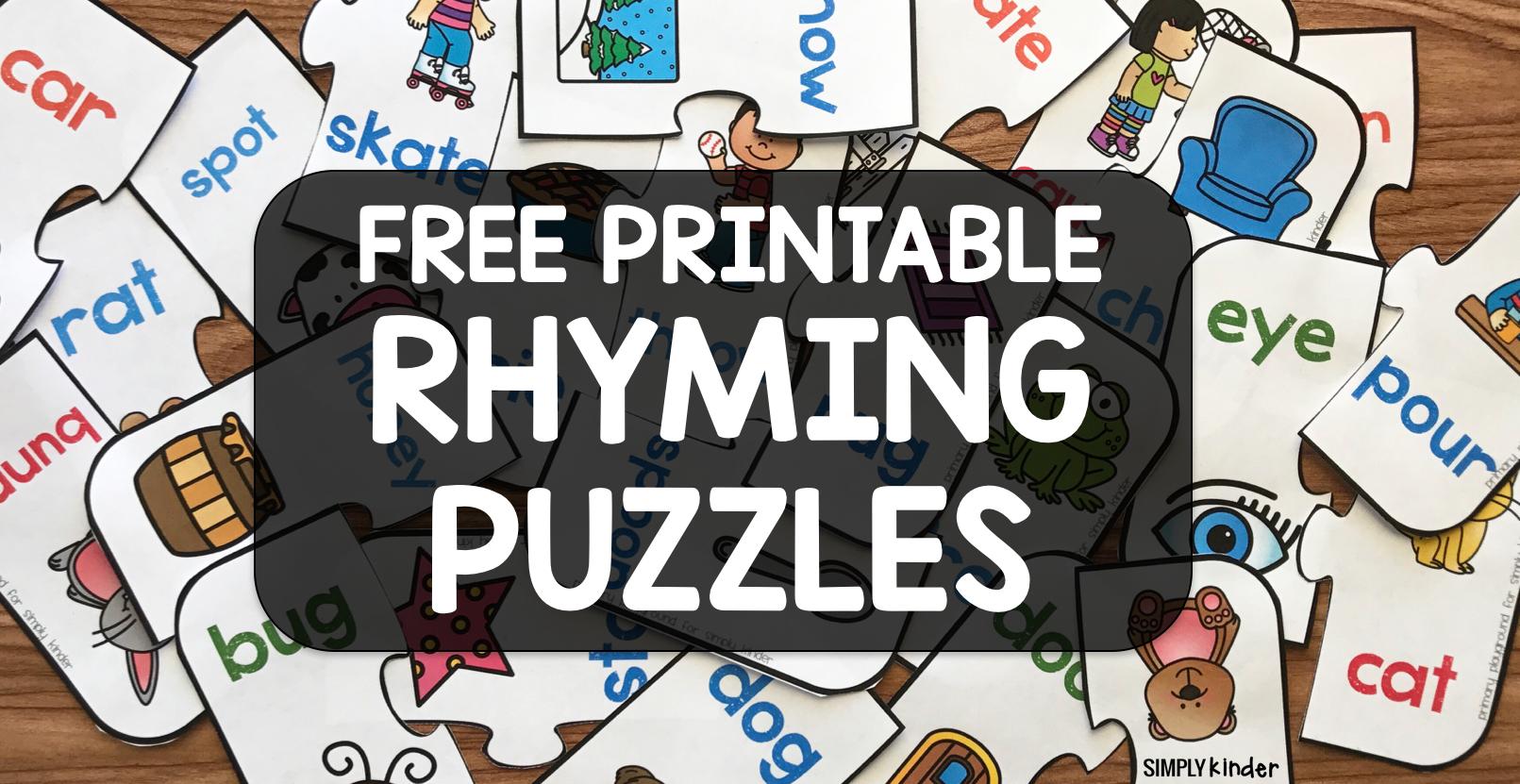 Free Printable Rhyming Puzzles - Simply Kinder - Printable Rhyming Puzzles