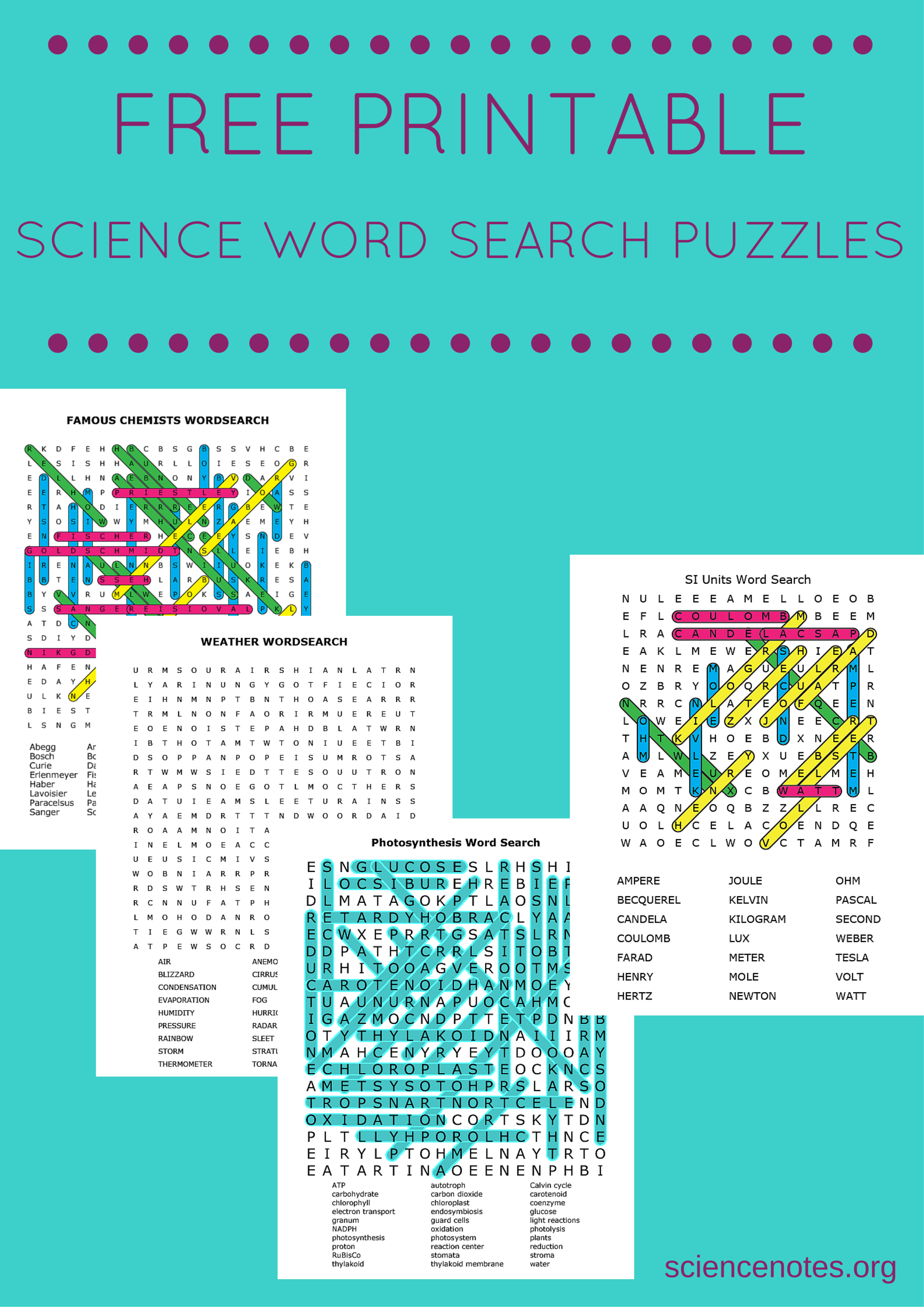 Free Printable Science Word Search Puzzles - Printable Science Puzzles