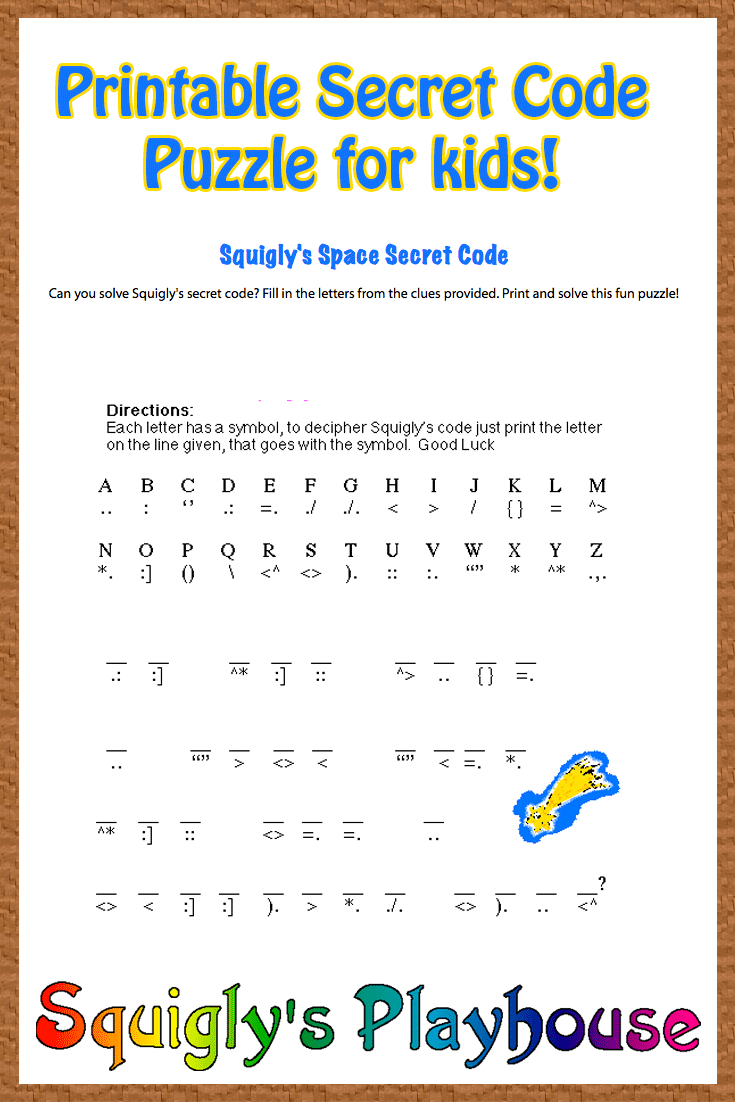 Free Printable Secret Code Word Puzzle For Kids. This Puzzle Has A - Printable Puzzle Games For Kindergarten