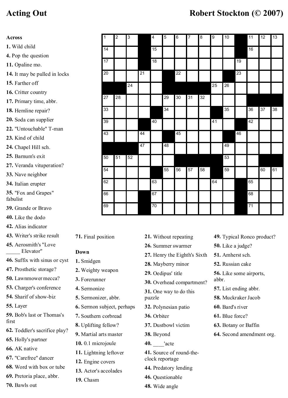 Free Printable Sunday Crossword Puzzles | Free Printables - Printable Crossword Puzzles By Frank Longo