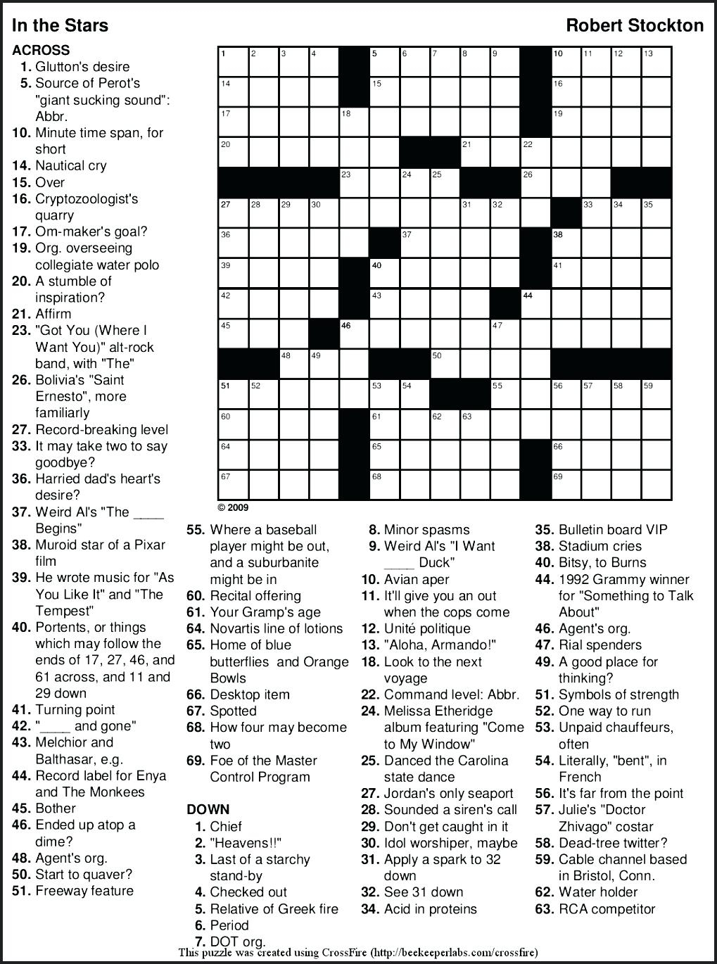 Free Printable Themed Crossword Puzzles – Myheartbeats.club - Printable Crossword Puzzles July 2018