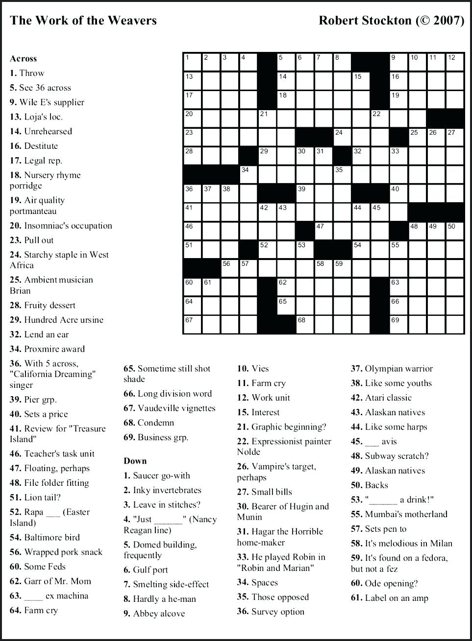 Free Printable Themed Crossword Puzzles – Myheartbeats.club - Printable Crossword Puzzles Themed