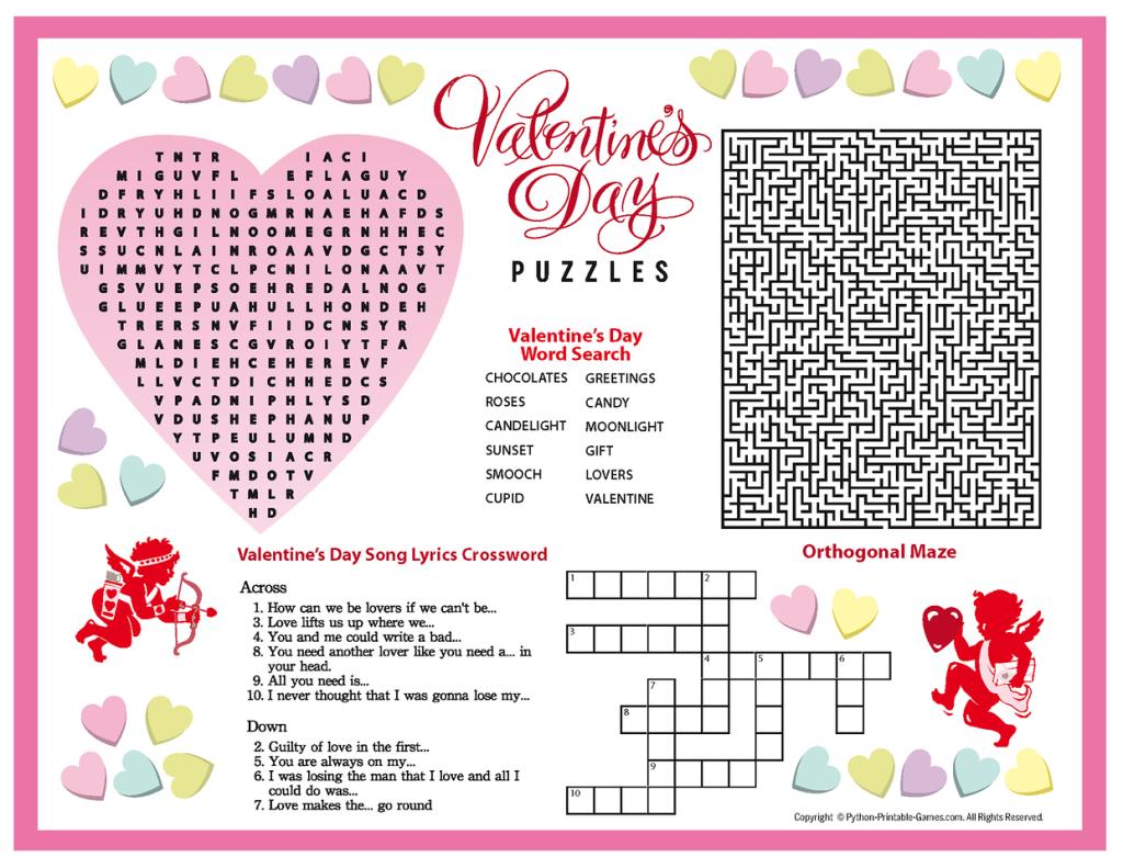 Free Printable Valentine's Day Puzzles   School Stuff   Valentines - Free Printable Valentine Puzzle Games