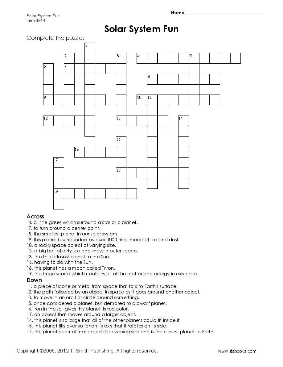 Free Printables For Grade 5 | Earth And Space Lessons I Love | Solar - Printable Crossword Puzzle For Grade 5