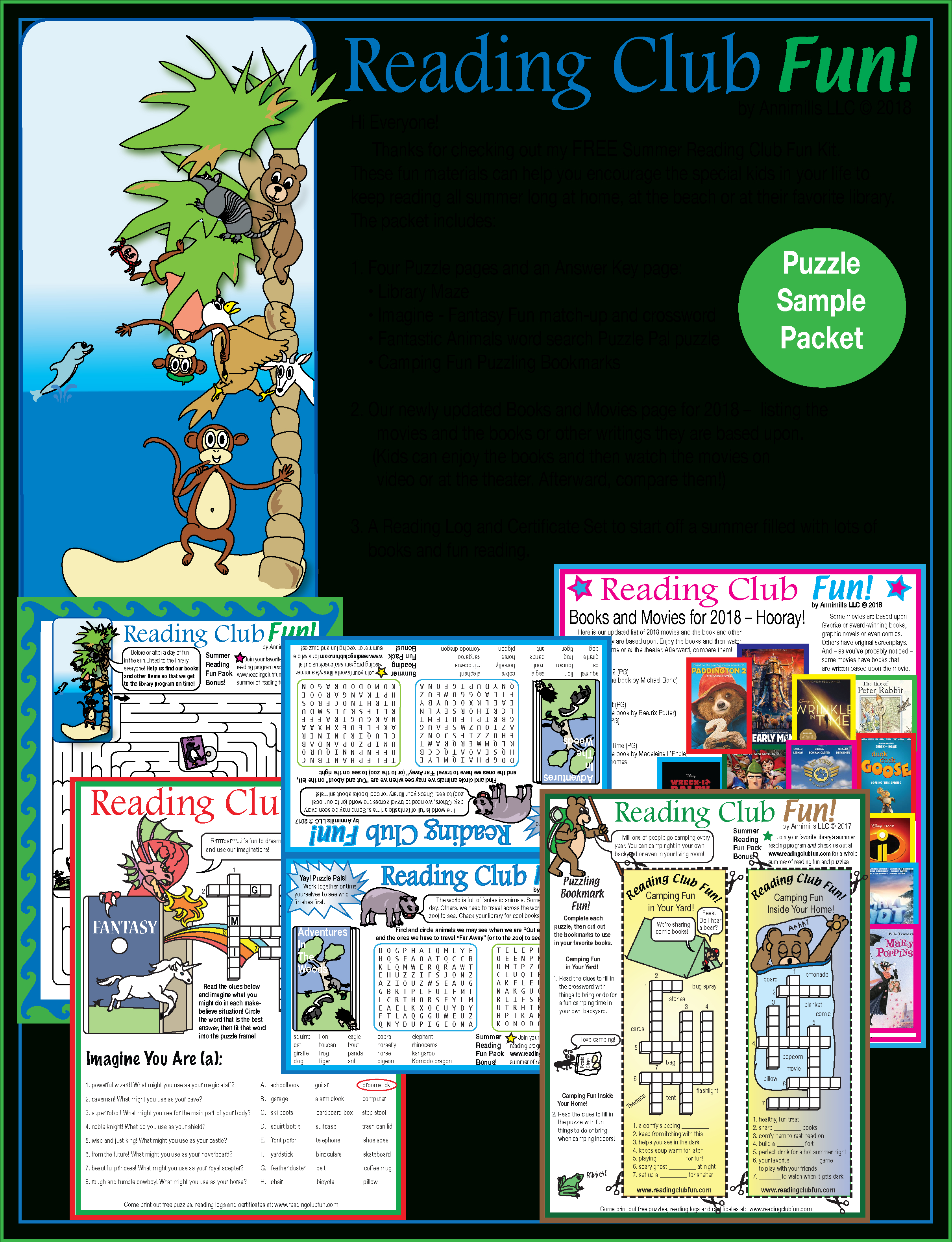 Free Summer Reading Fun – Puzzle Packet   Printable Puzzles For June - Printable Puzzle Packet