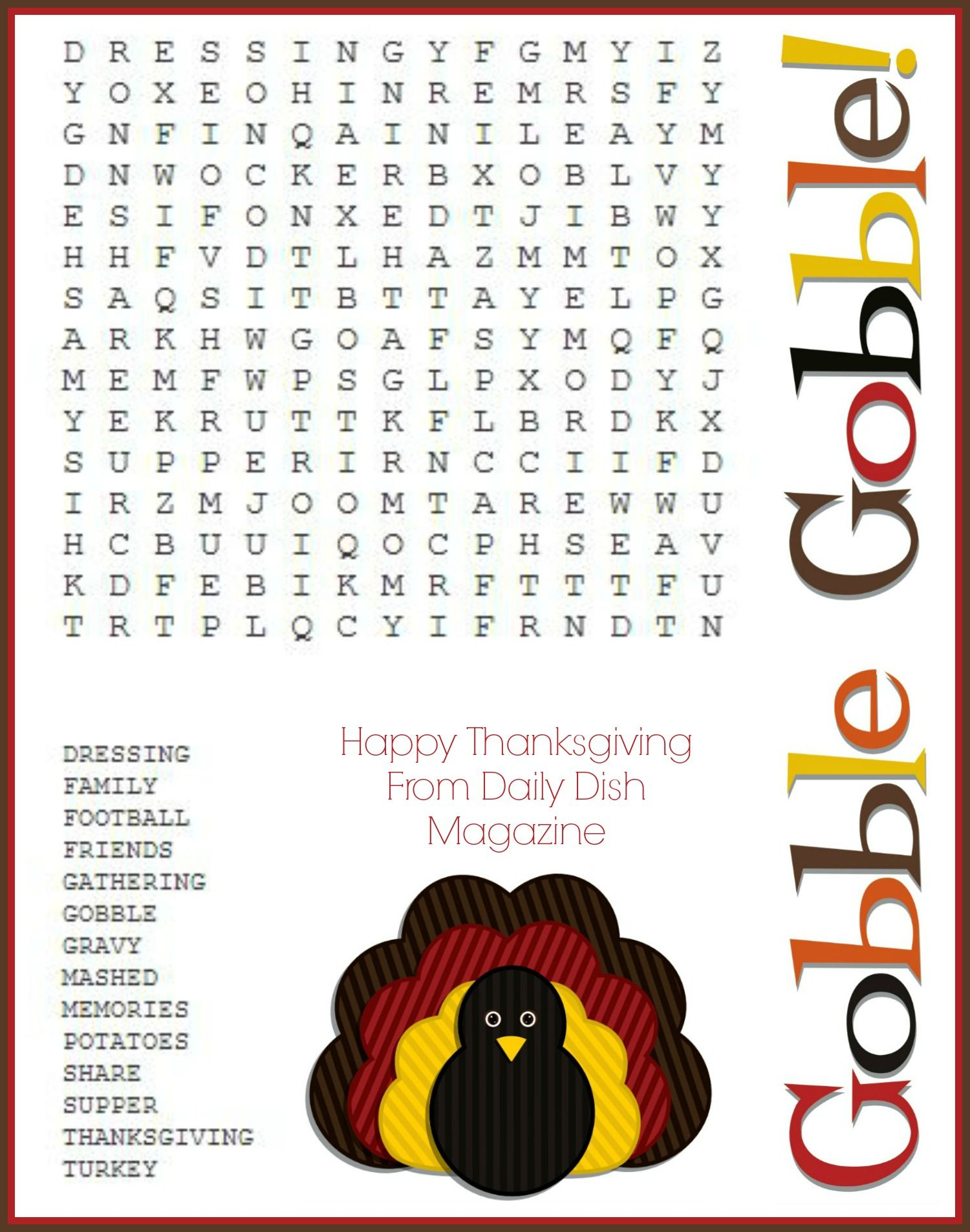 Free Thanksgiving Puzzles ~ Word Search And Maze Printable | Crafty - Printable Turkey Puzzle