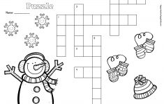 Free Winter Crossword Puzzle For Primary Students   Snow, Penguins   Printable Crossword Puzzles Winter