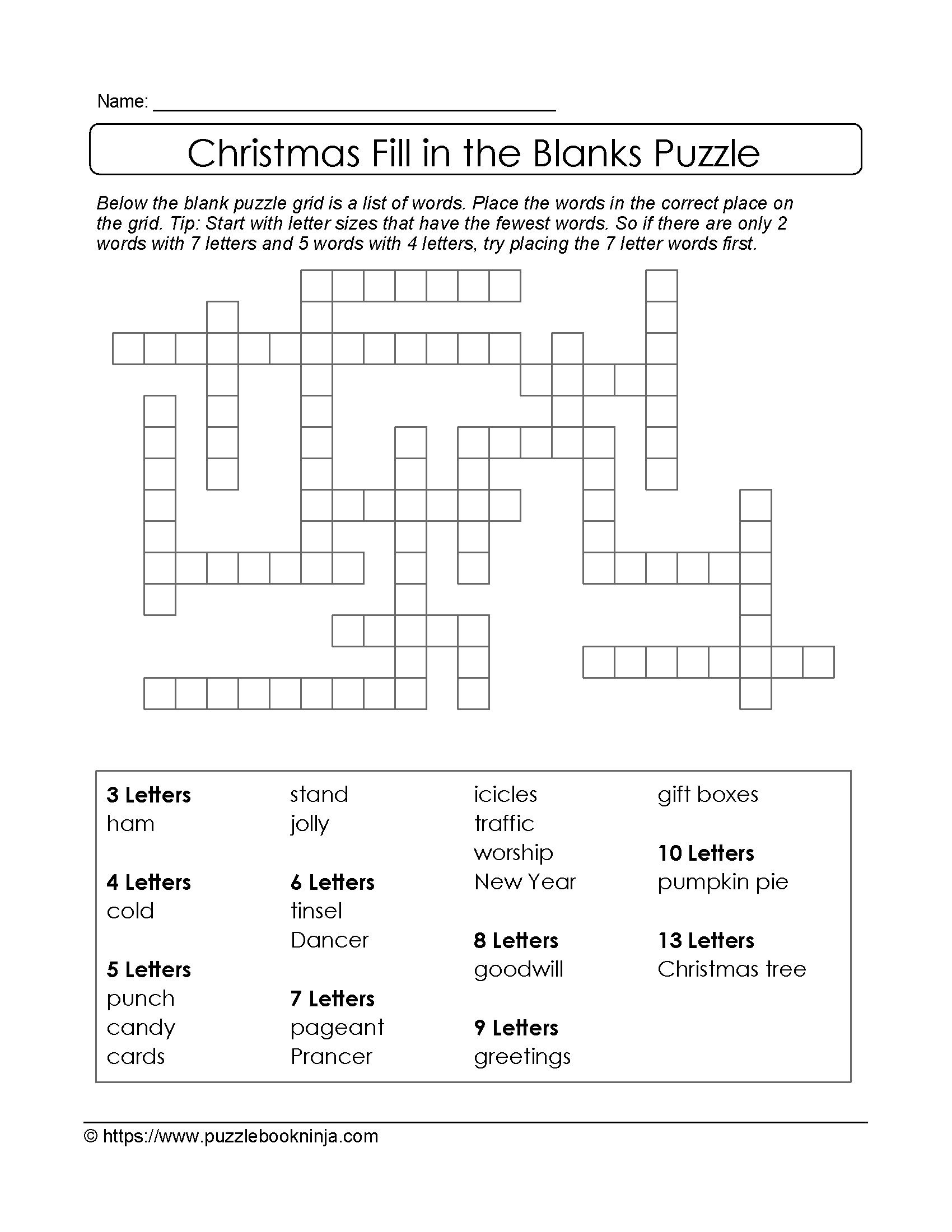 Freebie Xmas Puzzle To Print. Fill In The Blanks Crossword Like - English Language Crossword Puzzles Printable