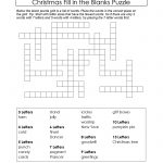 Freebie Xmas Puzzle To Print. Fill In The Blanks Crossword Like – Fill In Crossword Puzzles Printable