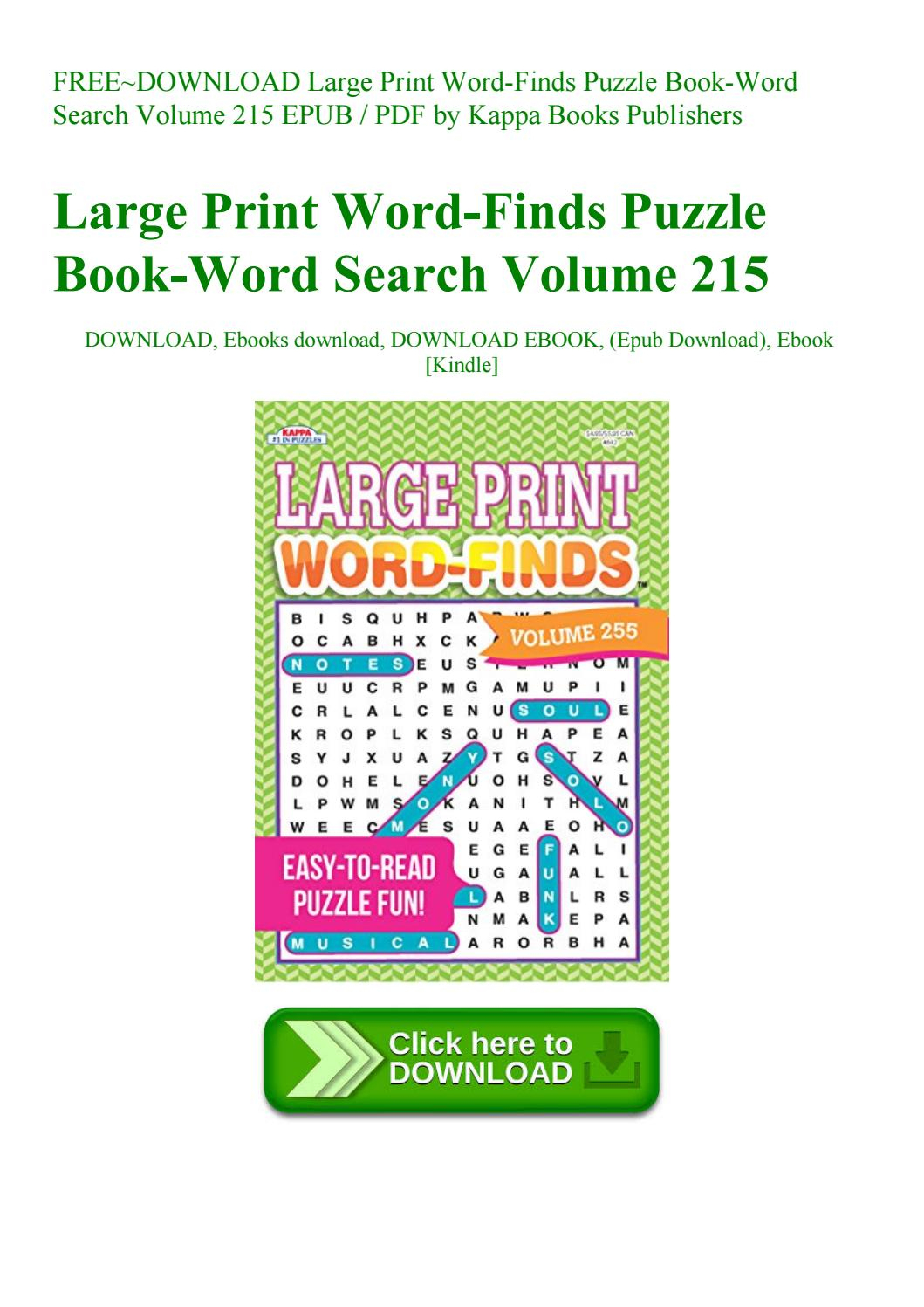 Free~Download Large Print Word-Finds Puzzle Book-Word Search Volume - Printable Puzzle Book Pdf