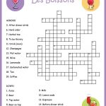 French Food Crossword Puzzle: Les Boissons | Français 5 | Learn   Crossword Puzzles In French Printable