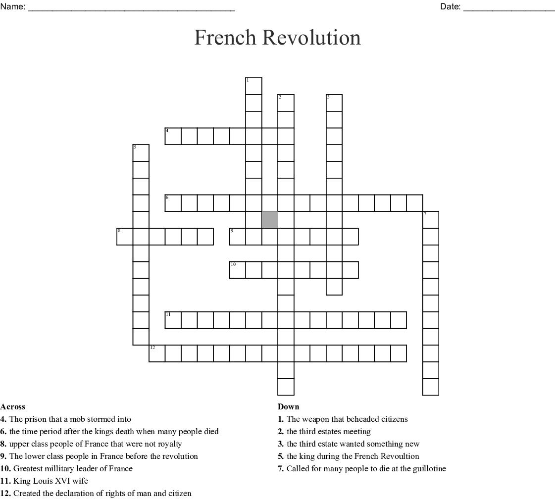 French Revolution Crossword - Wordmint - Printable French Puzzle