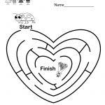 Fun Valentine's Day Maze Worksheet   Free Kindergarten Holiday   Valentine's Day Printable Puzzle