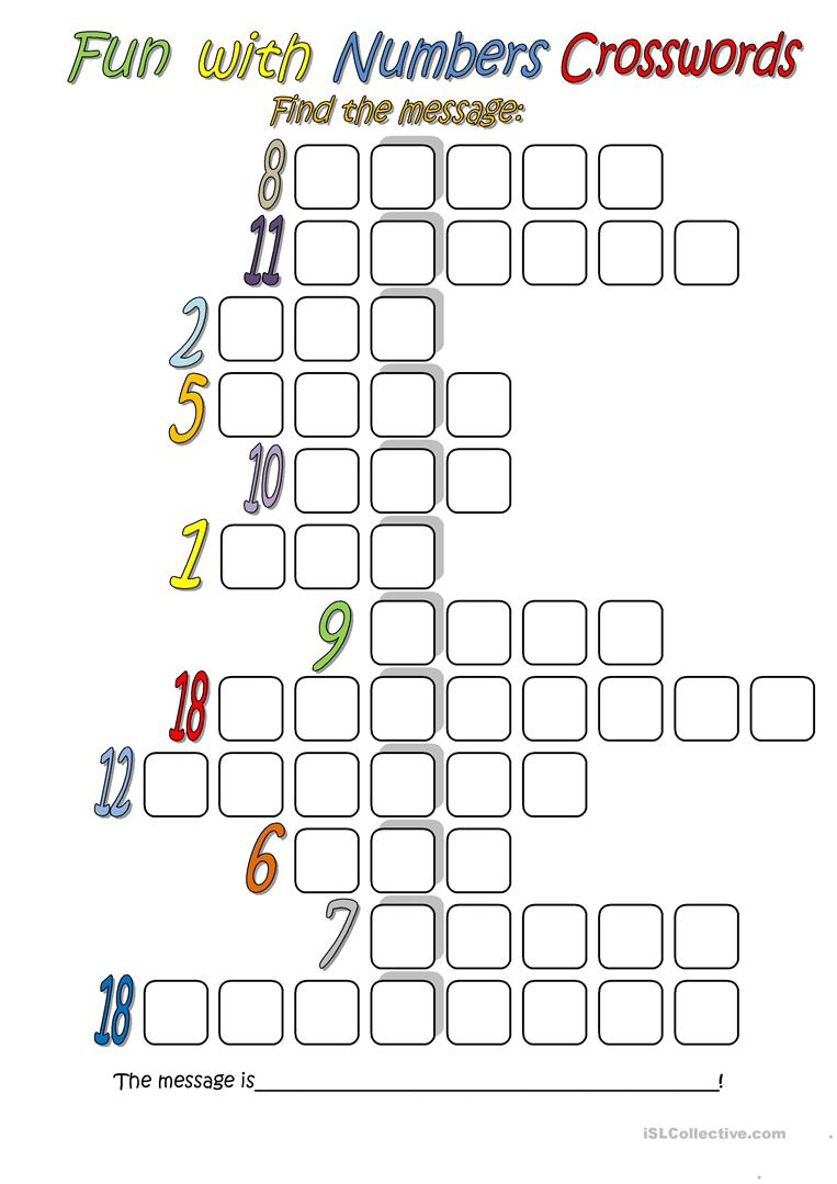 Fun With Numbers (Crossword) Worksheet - Free Esl Printable - Printable Crossword Esl