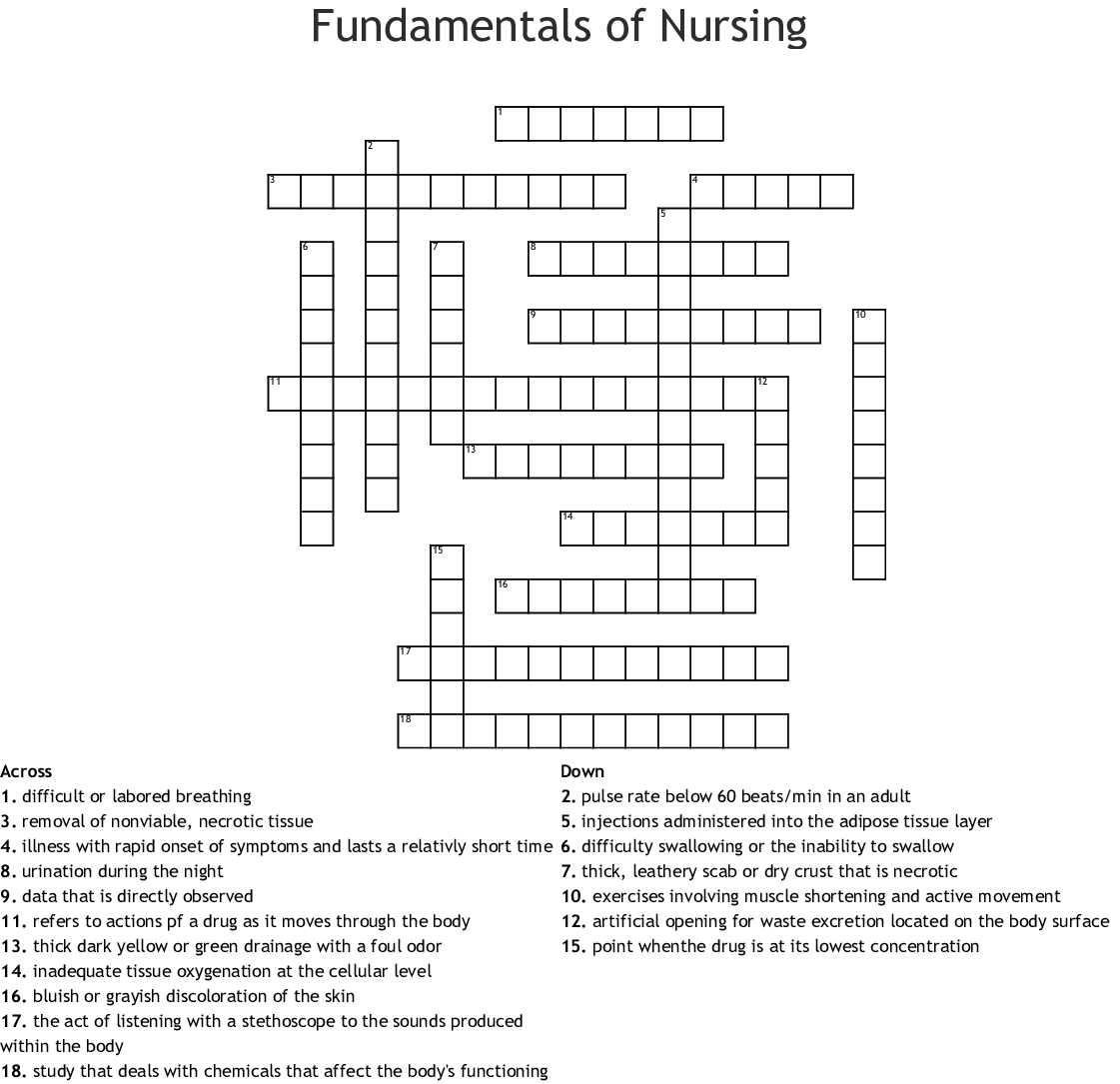 Fundamentals Of Nursing Crossword - Wordmint - Printable Nursing Crossword Puzzles