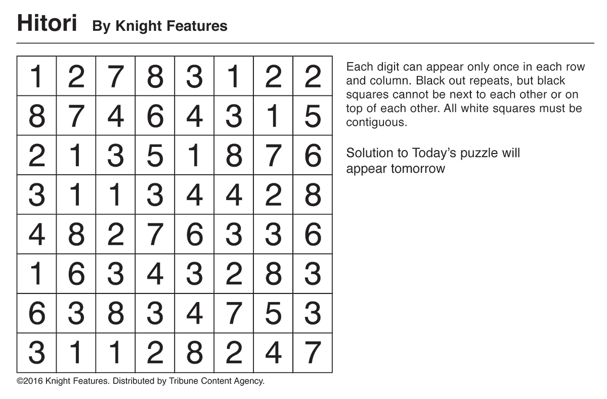 Games And Puzzles | Tribune Content Agency - Printable Hitori Puzzles